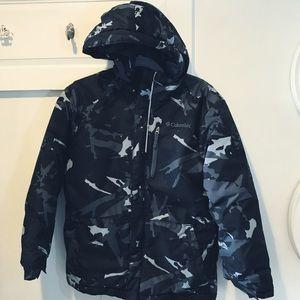 Columbia hooded black camouflage coat boys 7/8
